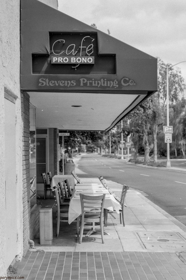 cafe pro bono palo alto downtown captured in monochrome medium format film