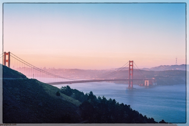 My first film photographs Sunrise over Golden gate bridge with San Francisco in the backdrop