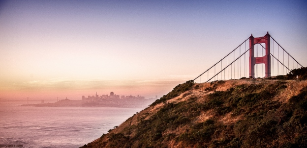 Golden gate national recreational area... sunrise over Golden gate bride with San Francisco in the backdrop
