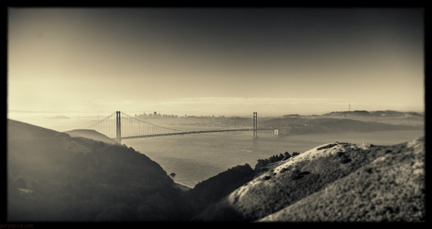 San francisco and golden gate in the beautiful gentle light at sunrise